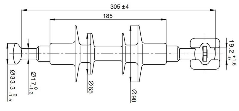 Чертеж и габаритные размеры полимерного изолятора ЛК-70/10-И-3 ГП