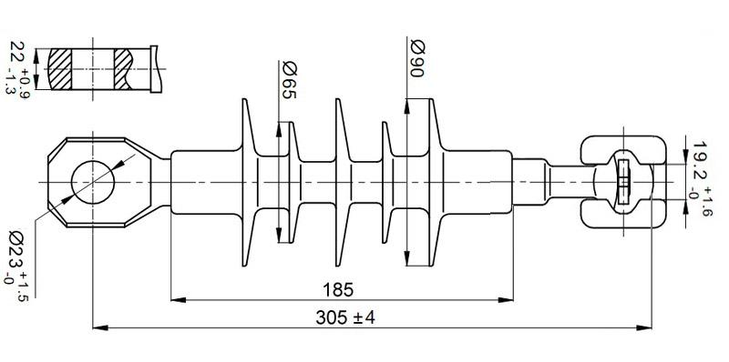 Чертеж и габаритные размеры полимерного изолятора ЛК-70/10-И-4 ГС
