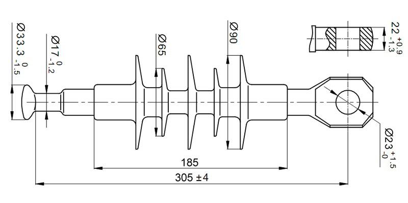 Чертеж и габаритные размеры полимерного изолятора ЛК-70/10-И-4 СП