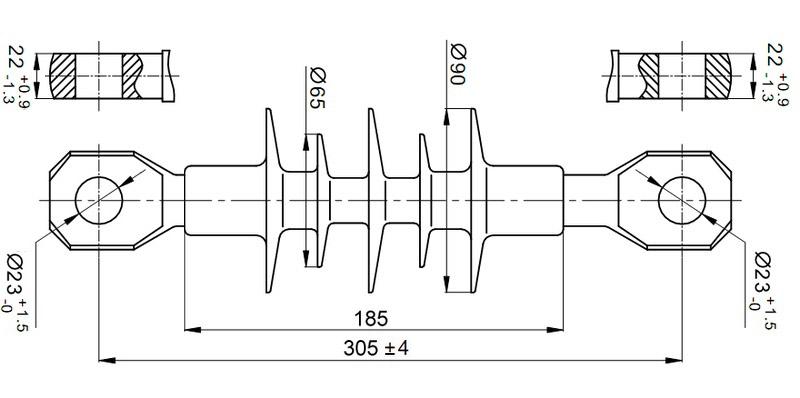 Чертеж и габаритные размеры полимерного изолятора ЛК-70/10-И-4 СС